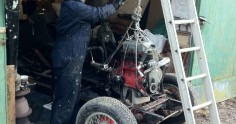 Sarah with engine hoist working on MGTD 1950