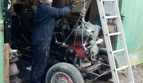Sarah with engine hoist working on MGTD 1950